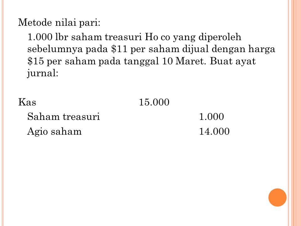 Metode nilai pari: 1.000 lbr saham treasuri Ho co yang diperoleh sebelumnya pada $11 per saham dijual dengan harga $15 per saham pada tanggal 10 Maret.