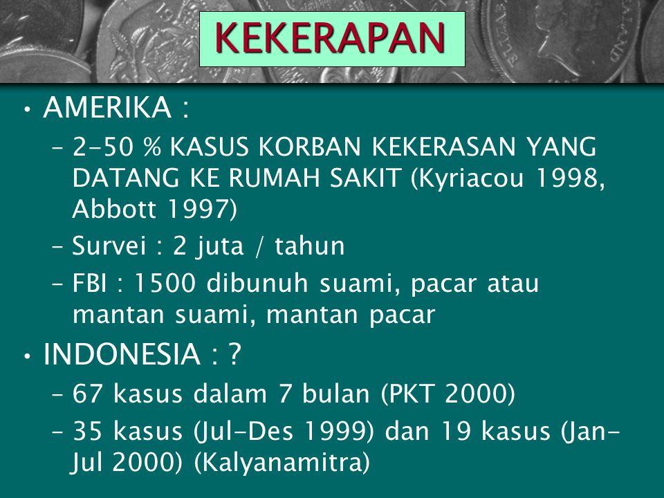 KEKERAPAN AMERIKA : –2-50 % KASUS KORBAN KEKERASAN YANG DATANG KE RUMAH SAKIT (Kyriacou 1998, Abbott 1997) –Survei : 2 juta / tahun –FBI : 1500 dibunuh suami, pacar atau mantan suami, mantan pacar INDONESIA : .