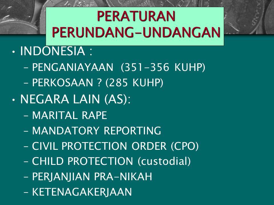 Peraturan Perundang- undangan NEGARA LAIN (AS): –Marital rape –Mandator Reporting –Civil Protection Order (CPO) –Child Protection (custodial) –Perjanjian Pra-Nikah –Ketenagakerjaan