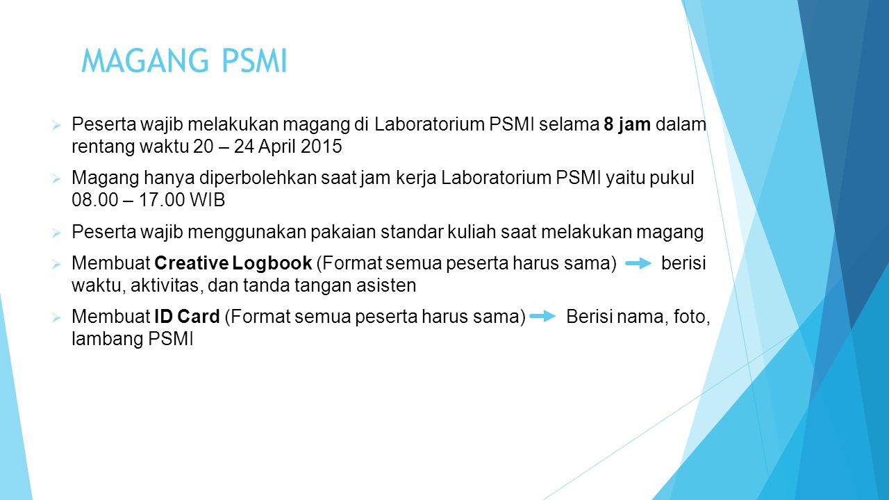 PENUGASAN  Membuat creative profile dari seluruh asisten PSMI secara komunal  Creative Profile dikumpulkan dalam bentuk hardcopy maksimal pada 24 April 2015 pukul 17.00 WIB  Diwajibkan melakukan asistensi minimal 1x dengan Mbak Ayu