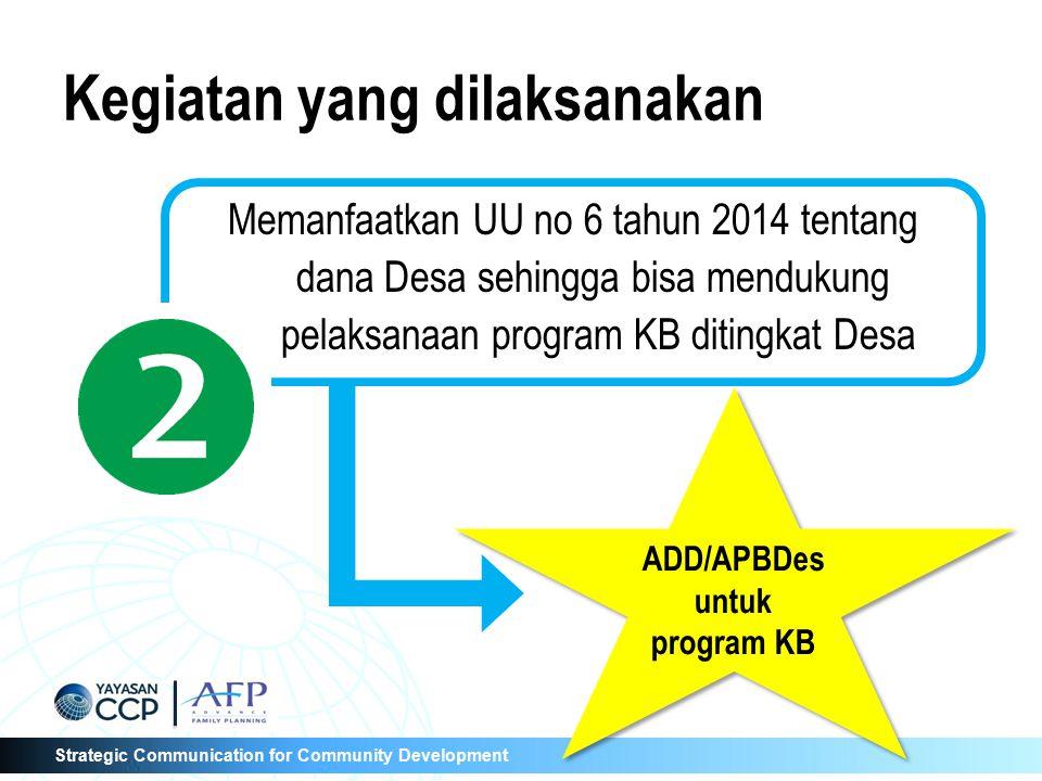 Strategic Communication for Community Development Memanfaatkan UU no 6 tahun 2014 tentang dana Desa sehingga bisa mendukung pelaksanaan program KB dit