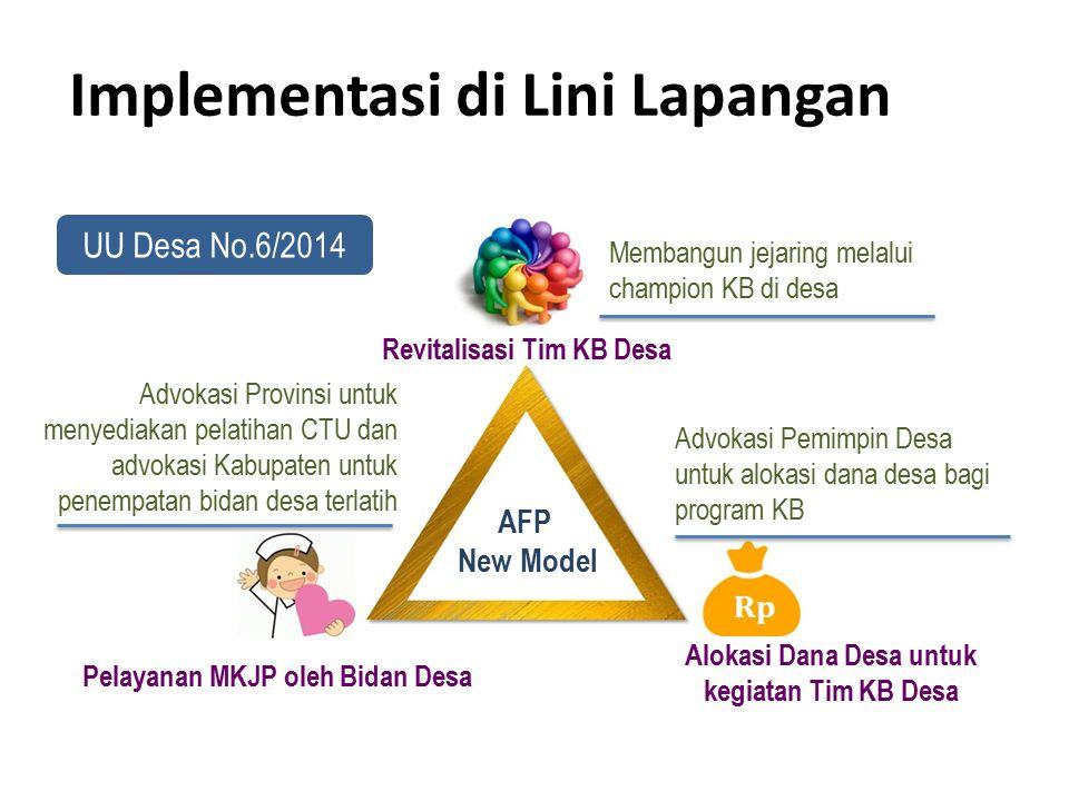 Revitalisasi Tim KB Desa Pelayanan MKJP oleh Bidan Desa Alokasi Dana Desa untuk kegiatan Tim KB Desa Advokasi Provinsi untuk menyediakan pelatihan CTU