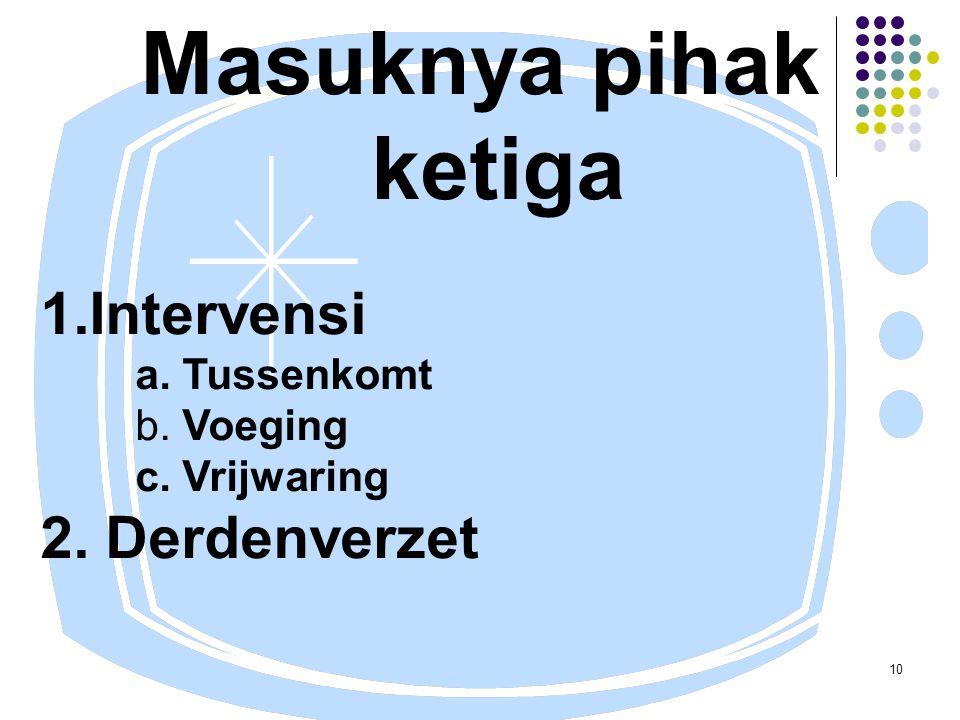 10 Masuknya pihak ketiga 1.Intervensi a. Tussenkomt b. Voeging c. Vrijwaring 2. Derdenverzet