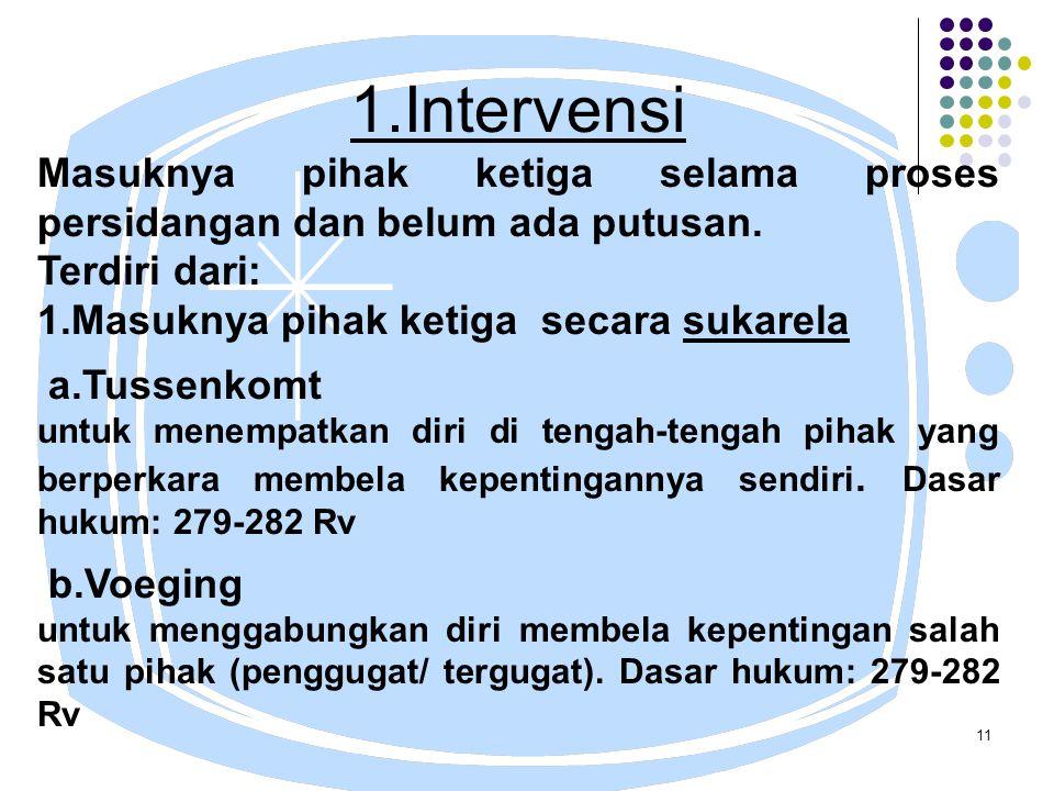11 1.Intervensi Masuknya pihak ketiga selama proses persidangan dan belum ada putusan.