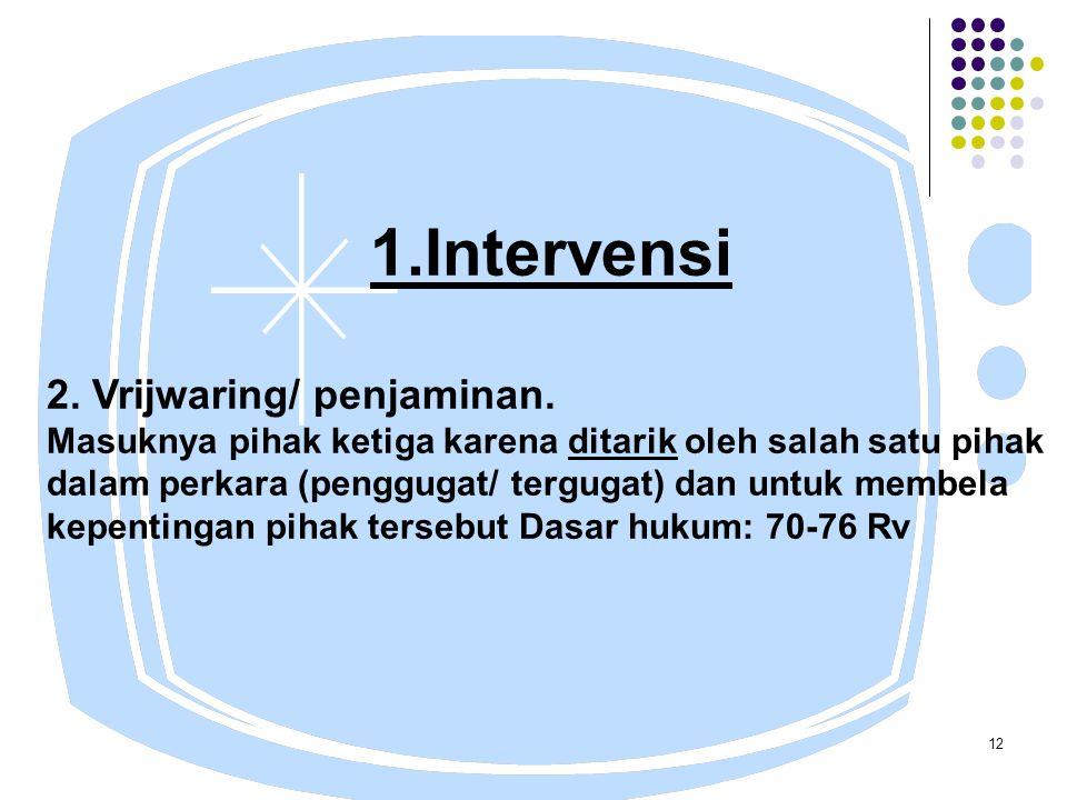 12 1.Intervensi 2. Vrijwaring/ penjaminan.