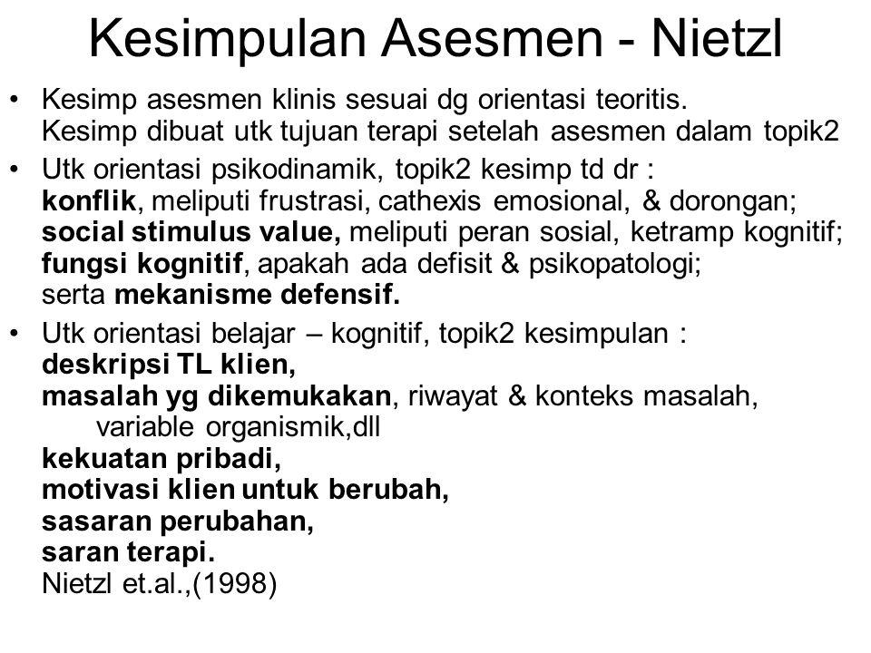 Kesimpulan Asesmen - Nietzl Kesimp asesmen klinis sesuai dg orientasi teoritis. Kesimp dibuat utk tujuan terapi setelah asesmen dalam topik2 Utk orien