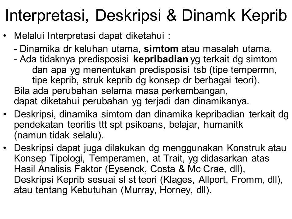Interpretasi, Deskripsi & Dinamk Keprib Melalui Interpretasi dapat diketahui : - Dinamika dr keluhan utama, simtom atau masalah utama. - Ada tidaknya