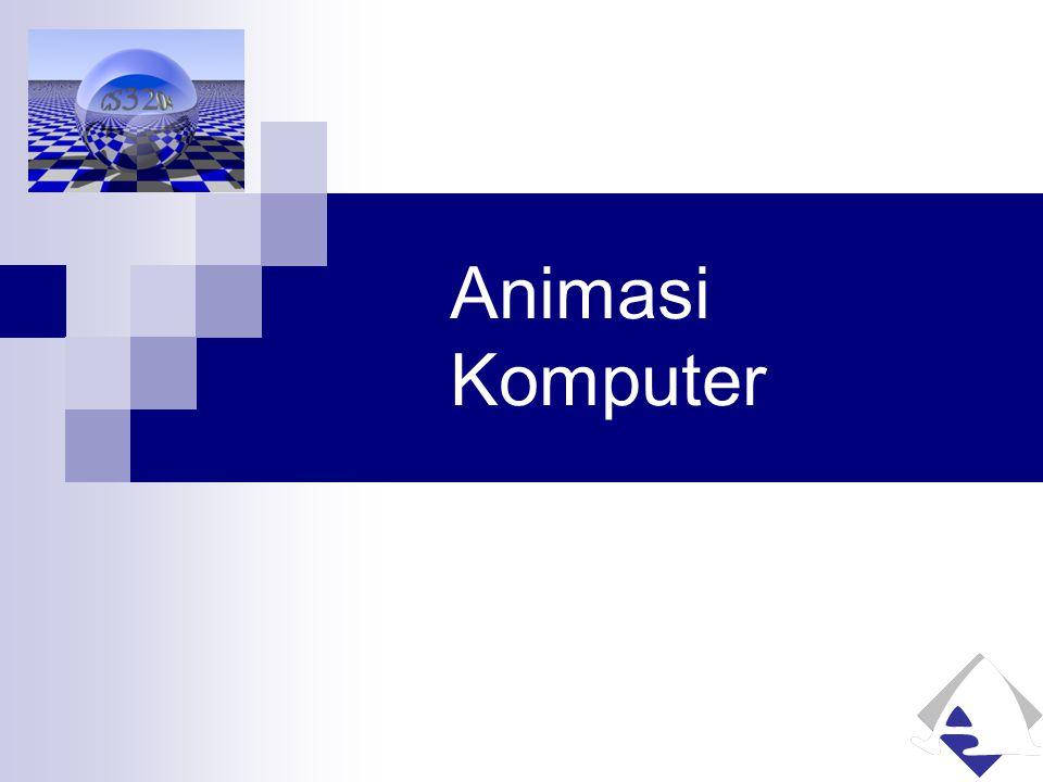 Animasi pada POV-Ray Membangkitkan progressive images  Bisa dirangkai dengan tools yang lain untuk mendapatkan efek pergerakan Dukungan untuk animasi:  'Script' pada scene description file (*.POV) Melibatkan keyword clock sebagai variabel pada Object_Modifier; Contoh: translate Pengaturan fase animasi dll  Setting pada POVRAY.INI Initial_Clock & Final_Clock Initial_Frame & Final_Frame Subset_Start_Frame & Subset_End_Frame