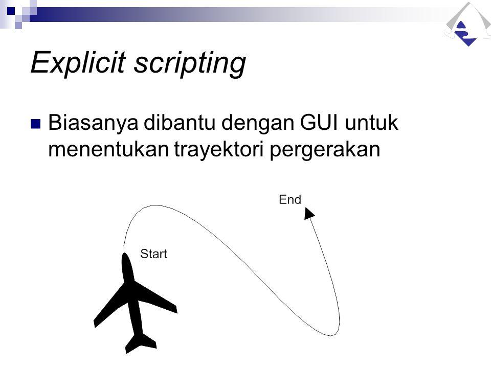 Explicit scripting Biasanya dibantu dengan GUI untuk menentukan trayektori pergerakan