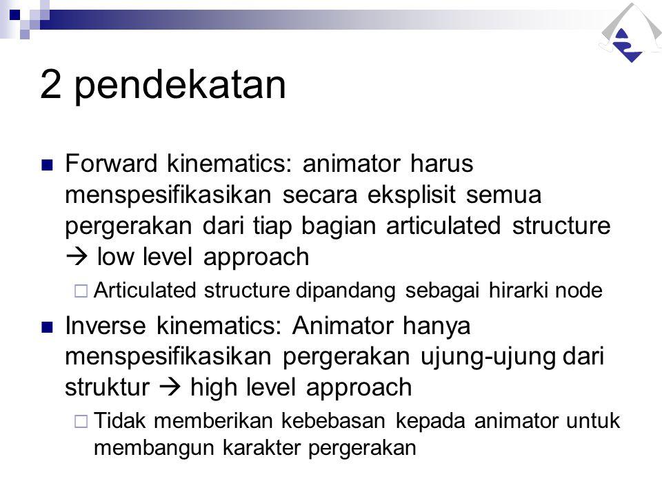 2 pendekatan Forward kinematics: animator harus menspesifikasikan secara eksplisit semua pergerakan dari tiap bagian articulated structure  low level