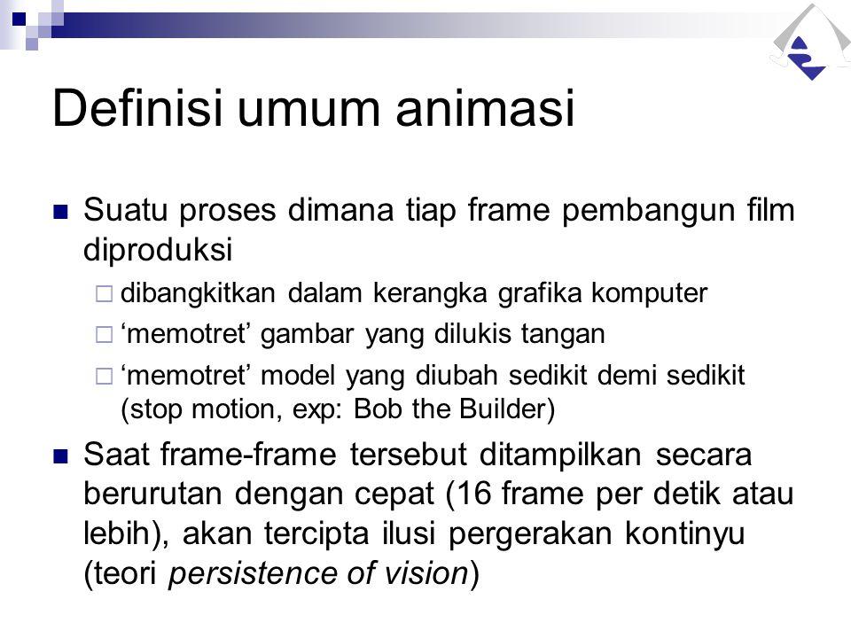 Definisi umum animasi Suatu proses dimana tiap frame pembangun film diproduksi  dibangkitkan dalam kerangka grafika komputer  'memotret' gambar yang