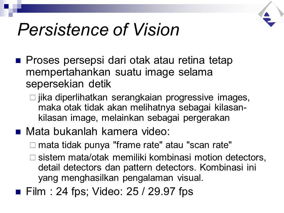 Persistence of Vision Proses persepsi dari otak atau retina tetap mempertahankan suatu image selama sepersekian detik  jika diperlihatkan serangkaian