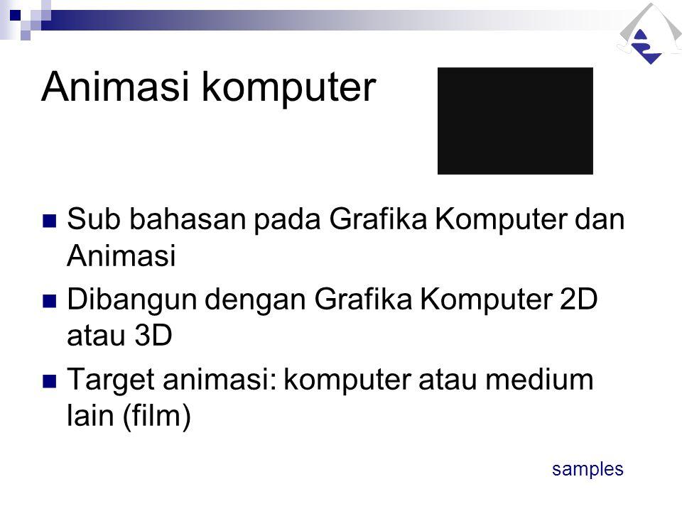Animasi komputer Sub bahasan pada Grafika Komputer dan Animasi Dibangun dengan Grafika Komputer 2D atau 3D Target animasi: komputer atau medium lain (