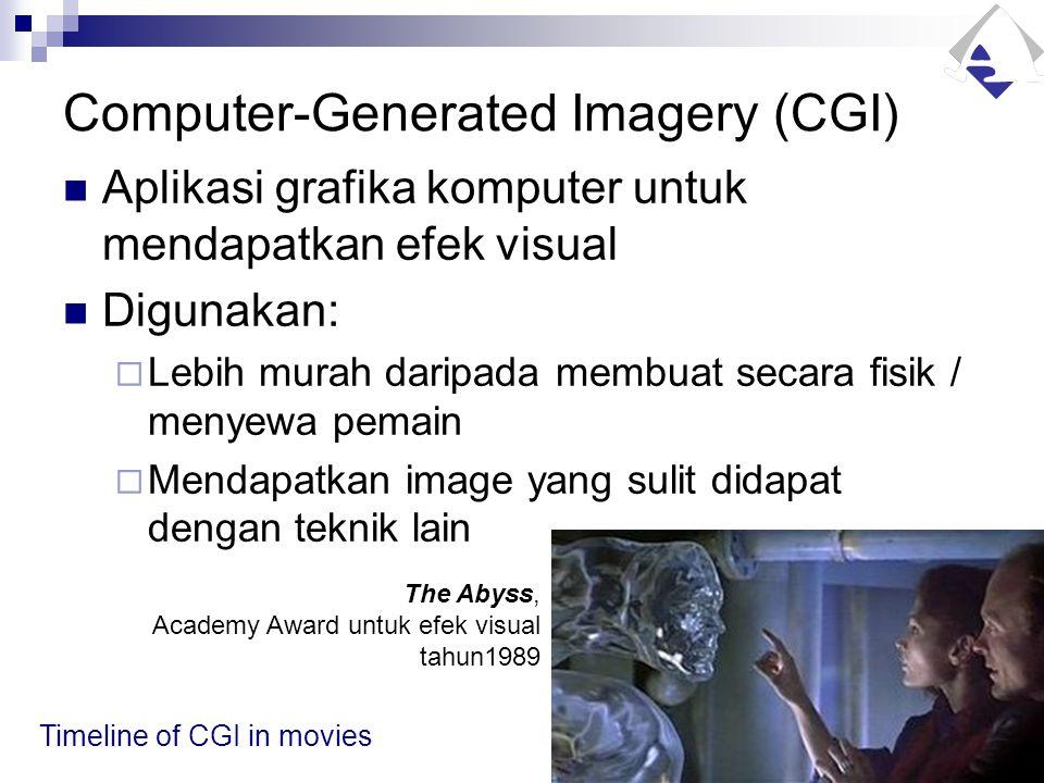 Computer-Generated Imagery (CGI) Aplikasi grafika komputer untuk mendapatkan efek visual Digunakan:  Lebih murah daripada membuat secara fisik / meny