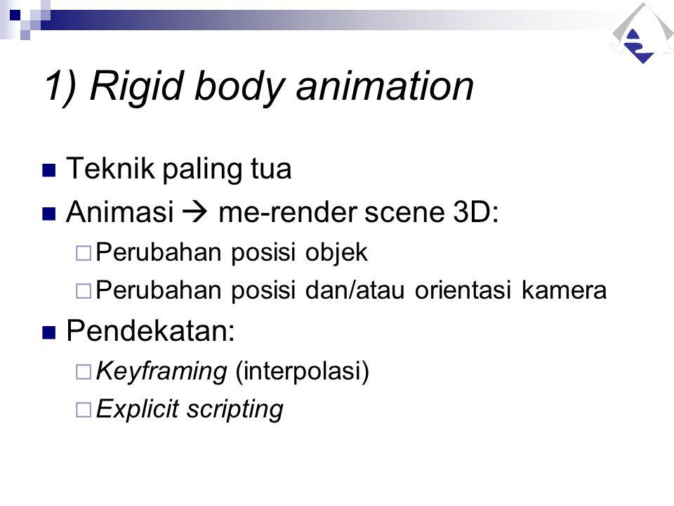 1) Rigid body animation Teknik paling tua Animasi  me-render scene 3D:  Perubahan posisi objek  Perubahan posisi dan/atau orientasi kamera Pendekat