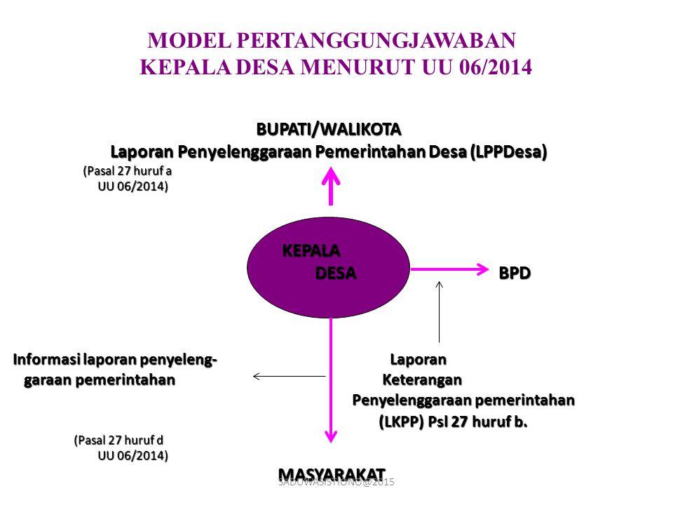 MODEL PERTANGGUNGJAWABAN KEPALA DESA MENURUT UU 06/2014 BUPATI/WALIKOTA Laporan Penyelenggaraan Pemerintahan Desa (LPPDesa) (Pasal 27 huruf a (Pasal 2