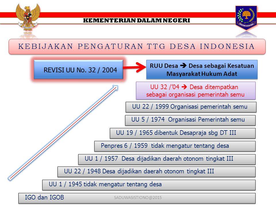 KEBIJAKAN PENGATURAN TTG DESA INDONESIA KEBIJAKAN PENGATURAN TTG DESA INDONESIA UU 22 / 1999 Organisasi pemerintah semu UU 32 /'04  Desa ditempatkan