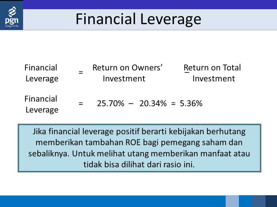 Financial Leverage Jika financial leverage positif berarti kebijakan berhutang memberikan tambahan ROE bagi pemegang saham dan sebaliknya. Untuk melih