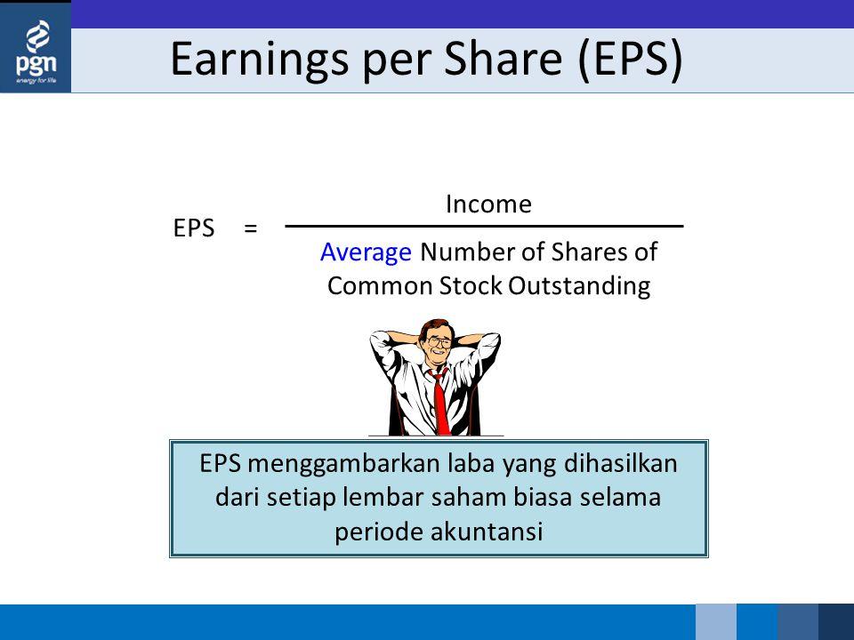 Earnings per Share (EPS) Income Average Number of Shares of Common Stock Outstanding EPS= EPS menggambarkan laba yang dihasilkan dari setiap lembar saham biasa selama periode akuntansi