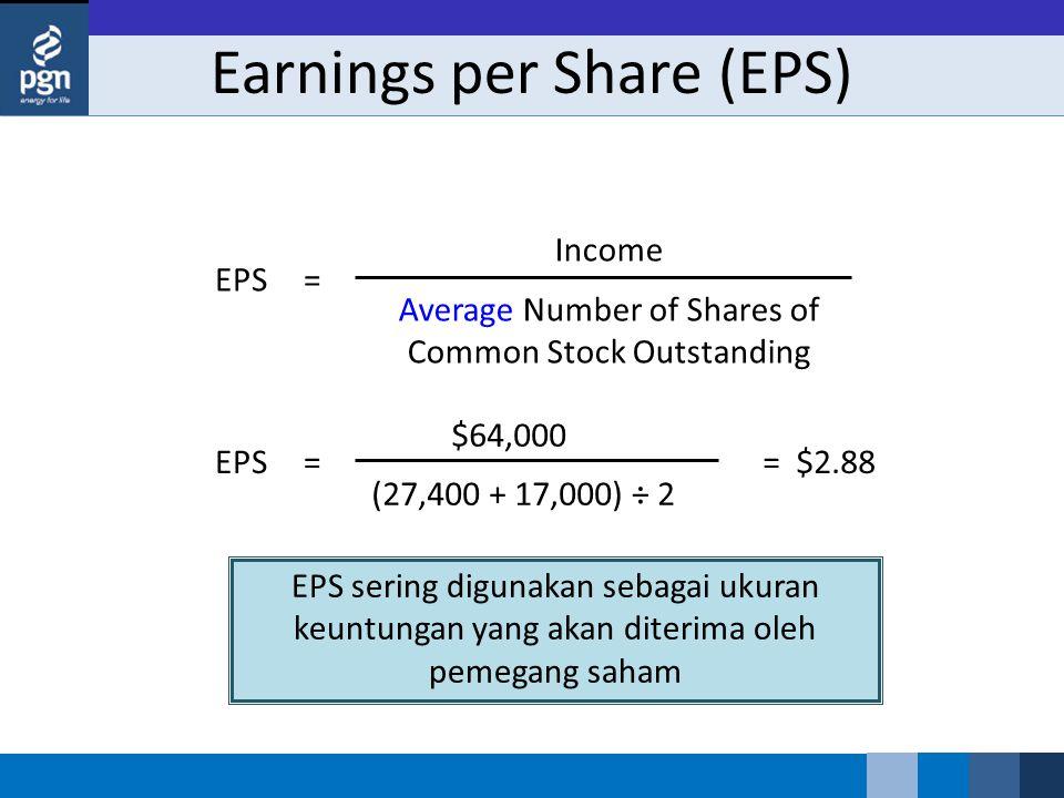 Earnings per Share (EPS) EPS sering digunakan sebagai ukuran keuntungan yang akan diterima oleh pemegang saham Income Average Number of Shares of Common Stock Outstanding EPS= $64,000 (27,400 + 17,000) ÷ 2 == $2.88