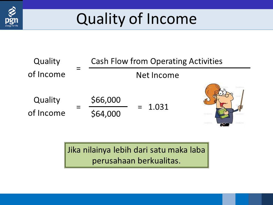 Jika nilainya lebih dari satu maka laba perusahaan berkualitas. Quality of Income Cash Flow from Operating Activities Net Income = Quality of Income $