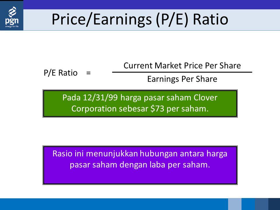 Price/Earnings (P/E) Ratio P/E Ratio = Current Market Price Per Share Earnings Per Share Rasio ini menunjukkan hubungan antara harga pasar saham denga