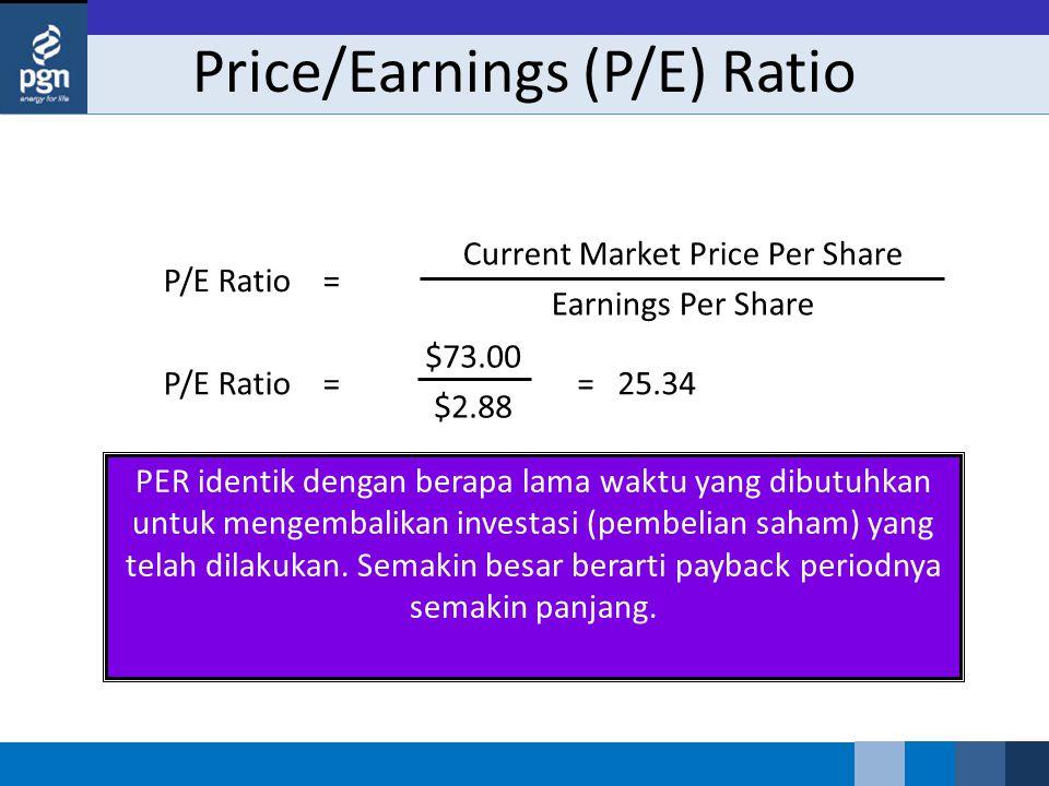Price/Earnings (P/E) Ratio PER identik dengan berapa lama waktu yang dibutuhkan untuk mengembalikan investasi (pembelian saham) yang telah dilakukan.