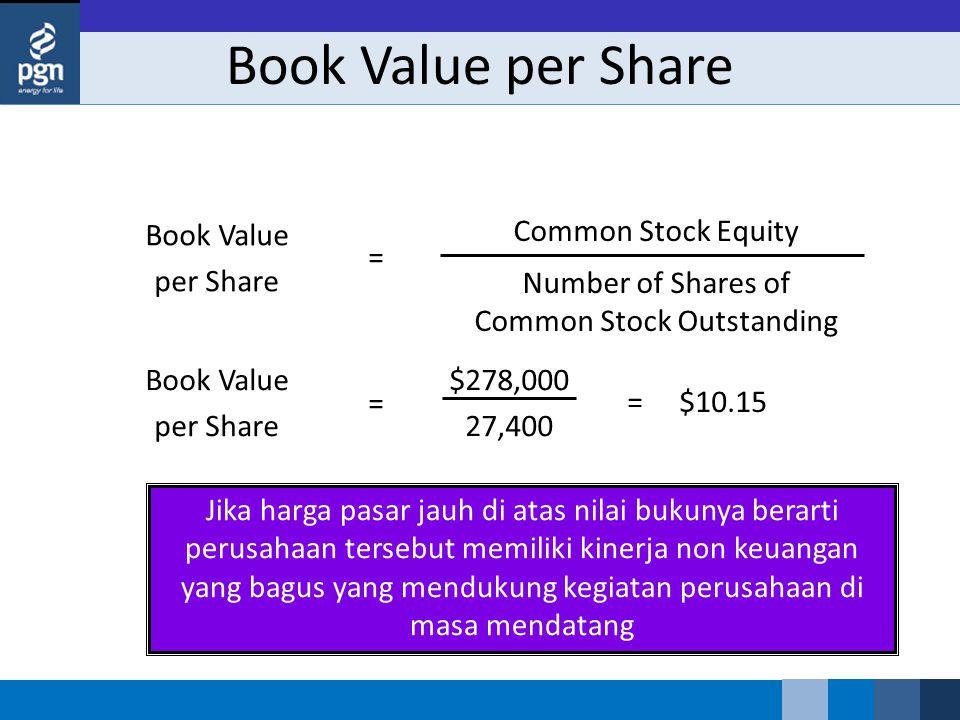 Jika harga pasar jauh di atas nilai bukunya berarti perusahaan tersebut memiliki kinerja non keuangan yang bagus yang mendukung kegiatan perusahaan di masa mendatang Book Value per Share $278,000 27,400 = = $10.15 Book Value per Share Common Stock Equity Number of Shares of Common Stock Outstanding =
