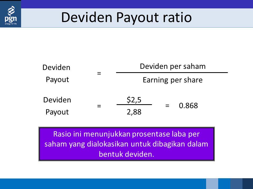 Rasio ini menunjukkan prosentase laba per saham yang dialokasikan untuk dibagikan dalam bentuk deviden. Deviden Payout $2,5 2,88 = = 0.868 Deviden Pay