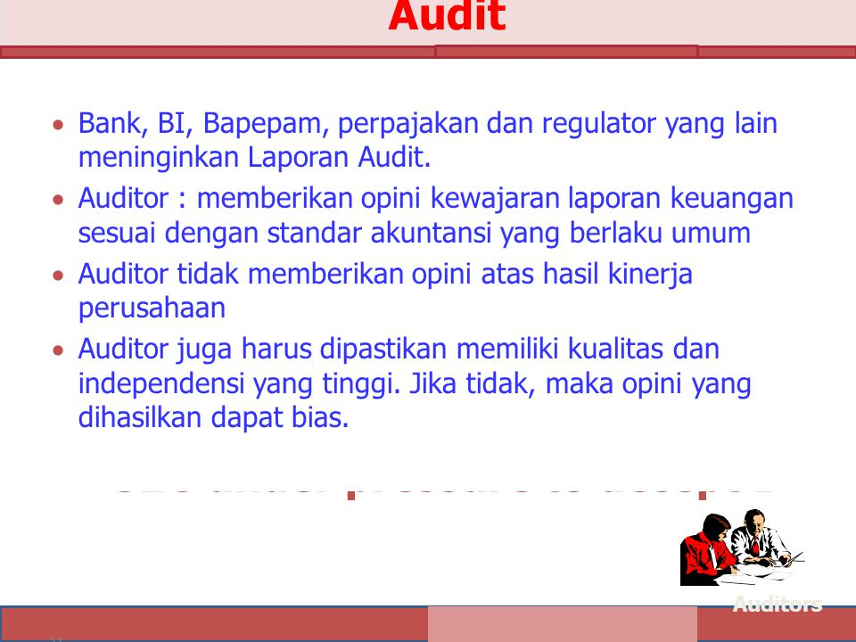 21 Audit  Set by International Accounting Standards Board  Not currently accepted in U.S.  SEC under pressure to accept I  Bank, BI, Bapepam, perp