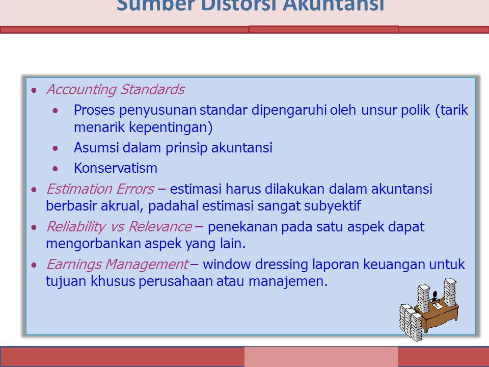 Sumber Distorsi Akuntansi  Accounting Standards  Proses penyusunan standar dipengaruhi oleh unsur polik (tarik menarik kepentingan)  Asumsi dalam p