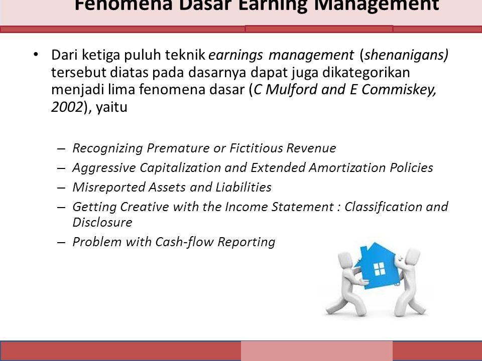 Fenomena Dasar Earning Management Dari ketiga puluh teknik earnings management (shenanigans) tersebut diatas pada dasarnya dapat juga dikategorikan me