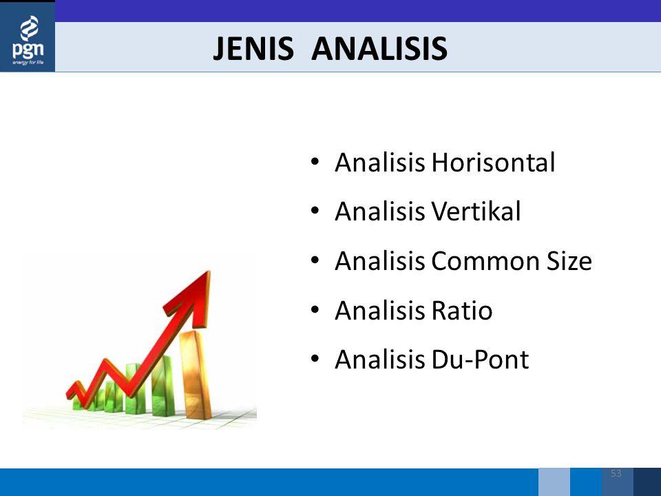 53 JENIS ANALISIS Analisis Horisontal Analisis Vertikal Analisis Common Size Analisis Ratio Analisis Du-Pont