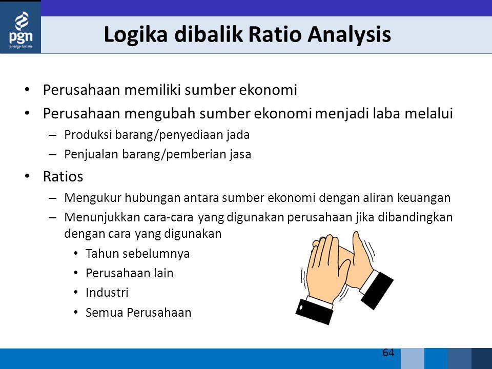 64 Logika dibalik Ratio Analysis Perusahaan memiliki sumber ekonomi Perusahaan mengubah sumber ekonomi menjadi laba melalui – Produksi barang/penyedia