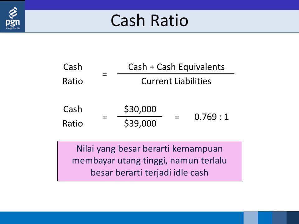 Nilai yang besar berarti kemampuan membayar utang tinggi, namun terlalu besar berarti terjadi idle cash Cash Ratio Cash Ratio Cash + Cash Equivalents Current Liabilities ==0.769 : 1 Cash Ratio $30,000 $39,000 =