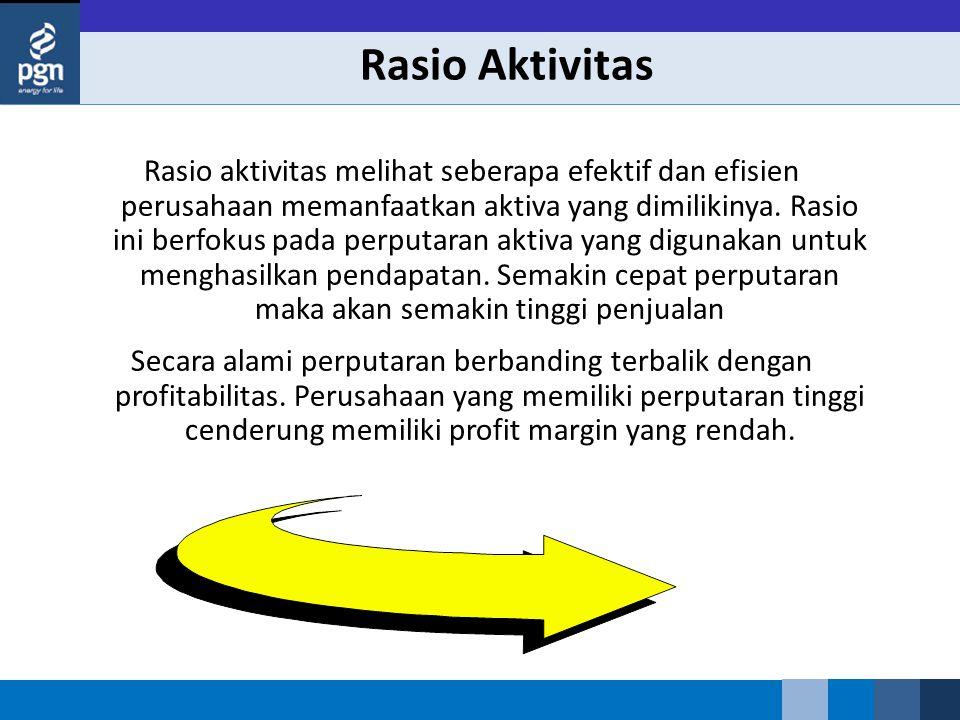 Rasio Aktivitas Rasio aktivitas melihat seberapa efektif dan efisien perusahaan memanfaatkan aktiva yang dimilikinya. Rasio ini berfokus pada perputar