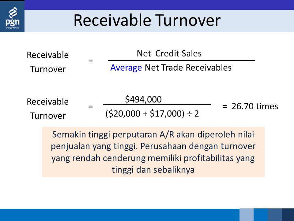 Receivable Turnover Semakin tinggi perputaran A/R akan diperoleh nilai penjualan yang tinggi. Perusahaan dengan turnover yang rendah cenderung memilik