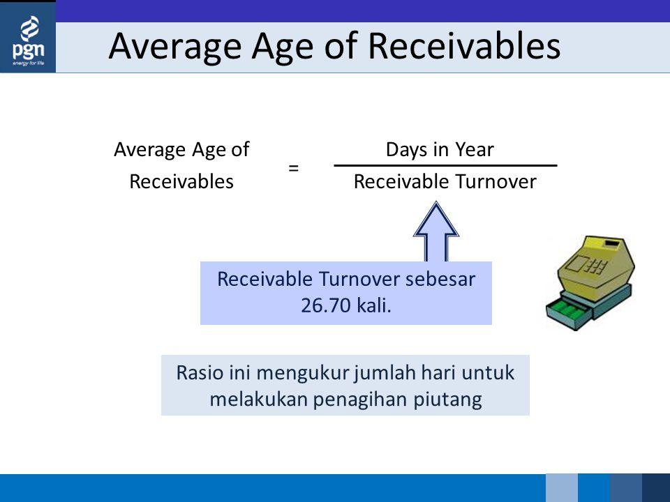 Average Age of Receivables Receivable Turnover sebesar 26.70 kali.