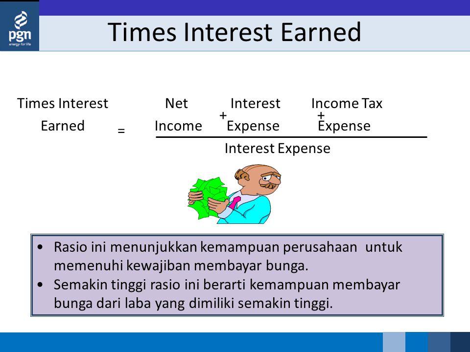 Times Interest Earned Net Interest Income Tax Income Expense Expense Interest Expense Times Interest Earned = ++ Rasio ini menunjukkan kemampuan perus