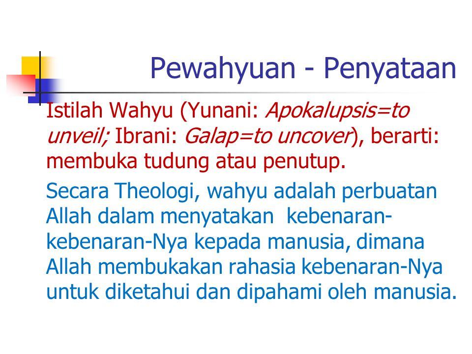 Pewahyuan - Penyataan Istilah Wahyu (Yunani: Apokalupsis=to unveil; Ibrani: Galap=to uncover), berarti: membuka tudung atau penutup. Secara Theologi,