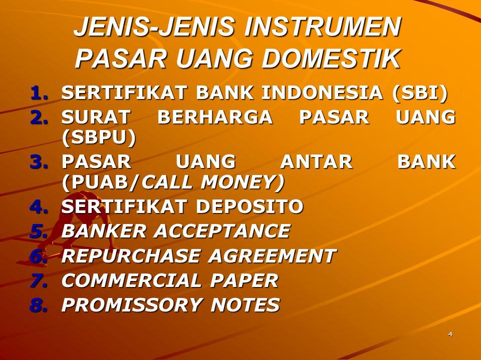 4 JENIS-JENIS INSTRUMEN PASAR UANG DOMESTIK 1.SERTIFIKAT BANK INDONESIA (SBI) 2.SURAT BERHARGA PASAR UANG (SBPU) 3.PASAR UANG ANTAR BANK (PUAB/CALL MO