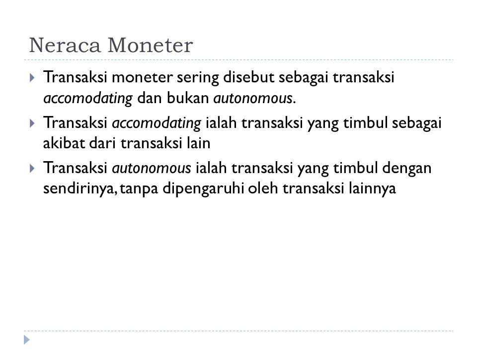 Neraca Moneter  Transaksi moneter sering disebut sebagai transaksi accomodating dan bukan autonomous.  Transaksi accomodating ialah transaksi yang t