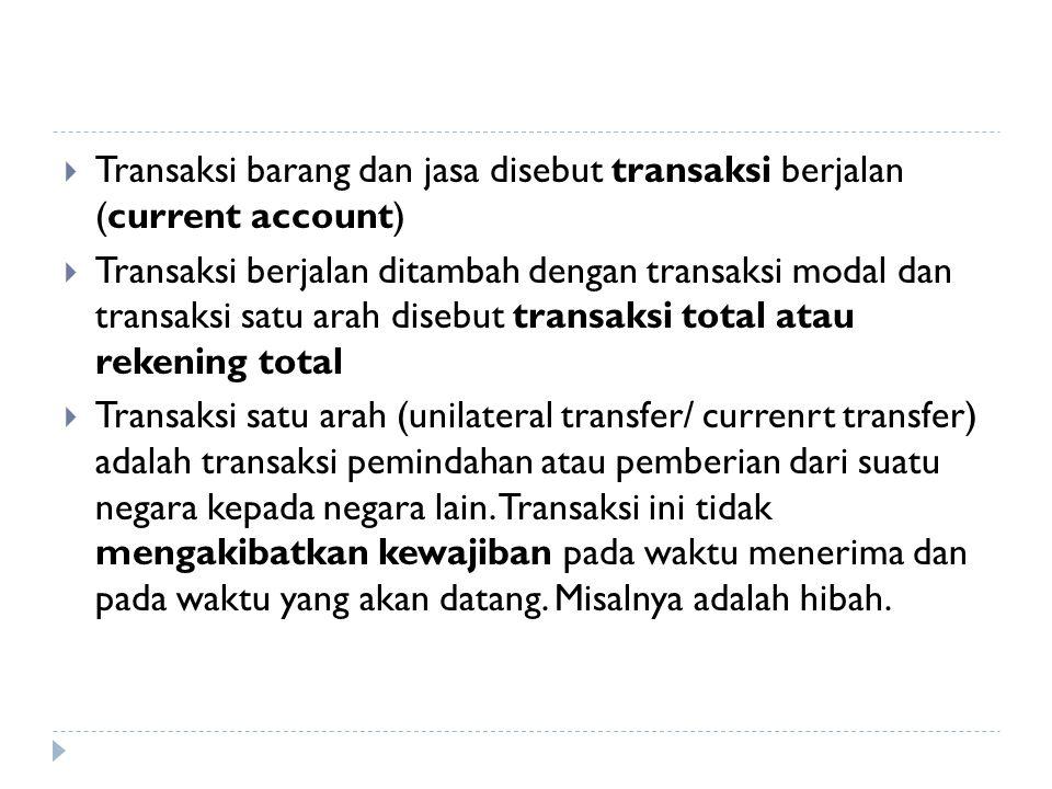  Transaksi barang dan jasa disebut transaksi berjalan (current account)  Transaksi berjalan ditambah dengan transaksi modal dan transaksi satu arah