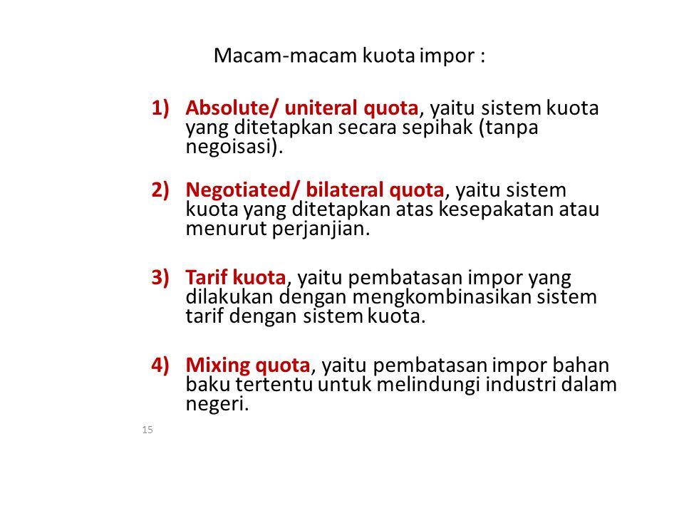 Macam-macam kuota impor : 1)Absolute/ uniteral quota, yaitu sistem kuota yang ditetapkan secara sepihak (tanpa negoisasi).