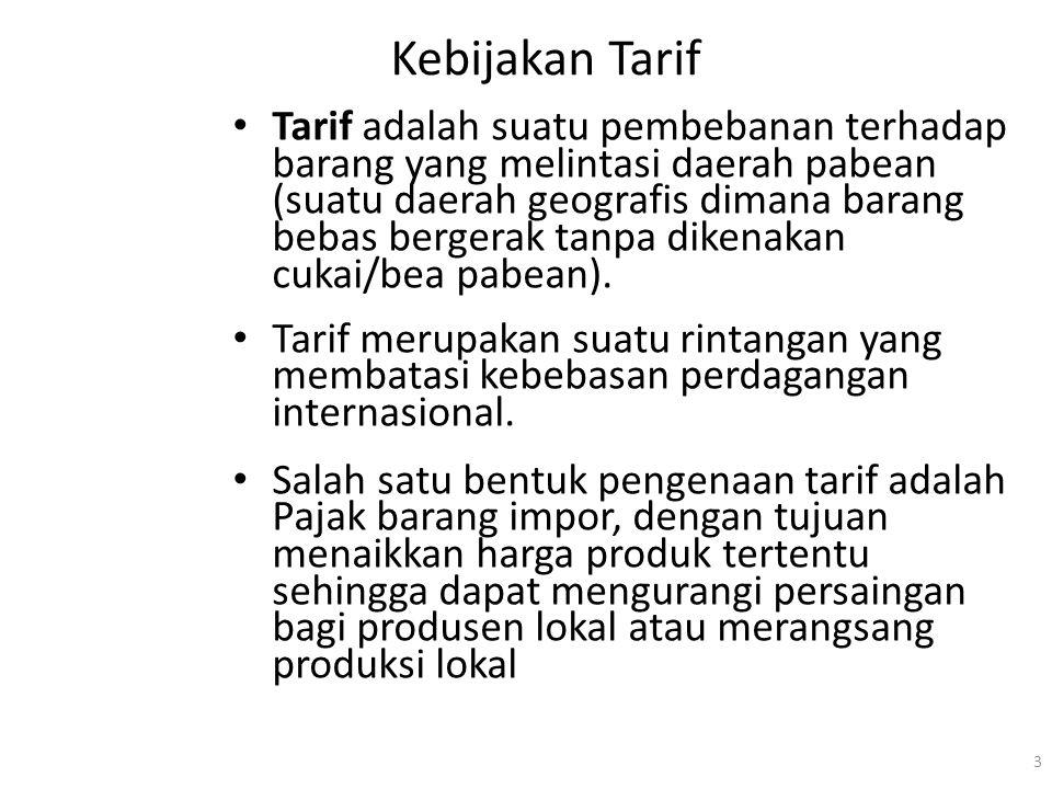 Kebijakan Tarif Tarif adalah suatu pembebanan terhadap barang yang melintasi daerah pabean (suatu daerah geografis dimana barang bebas bergerak tanpa dikenakan cukai/bea pabean).