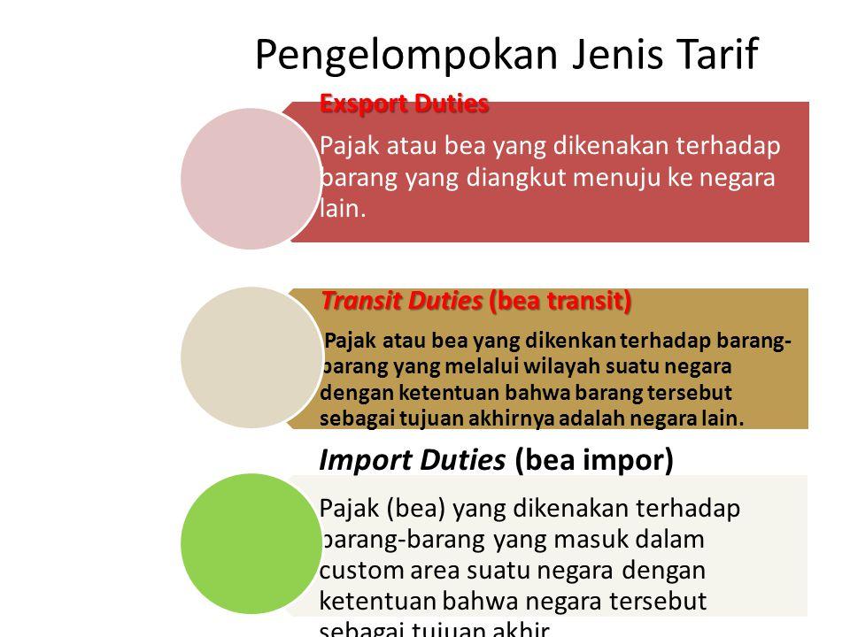 Pengelompokan Jenis Tarif Exsport Duties Pajak atau bea yang dikenakan terhadap barang yang diangkut menuju ke negara lain.