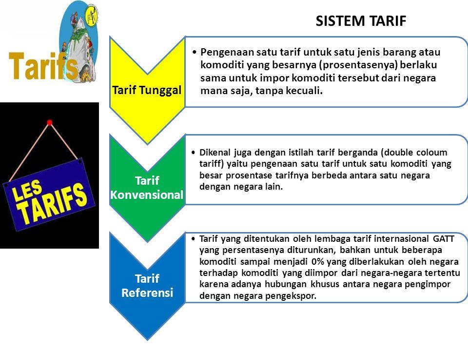 SISTEM TARIF Tarif Tunggal Pengenaan satu tarif untuk satu jenis barang atau komoditi yang besarnya (prosentasenya) berlaku sama untuk impor komoditi tersebut dari negara mana saja, tanpa kecuali.