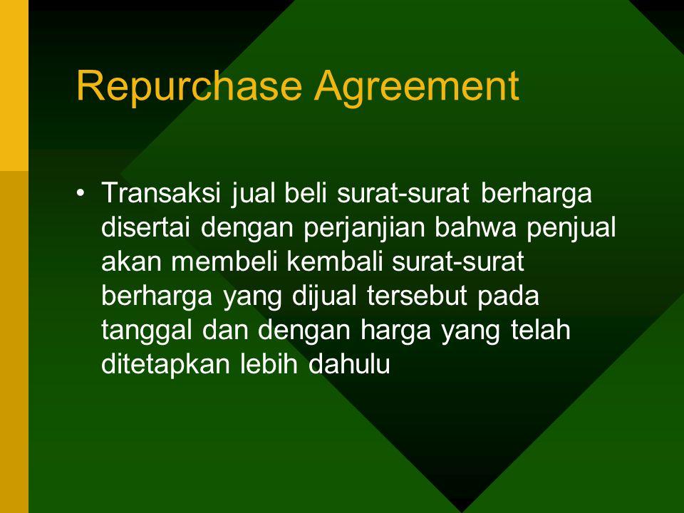 Repurchase Agreement Transaksi jual beli surat-surat berharga disertai dengan perjanjian bahwa penjual akan membeli kembali surat-surat berharga yang