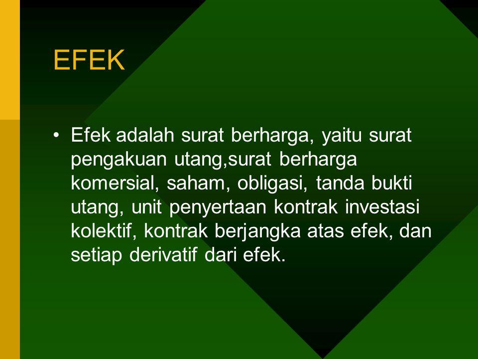 EFEK Efek adalah surat berharga, yaitu surat pengakuan utang,surat berharga komersial, saham, obligasi, tanda bukti utang, unit penyertaan kontrak inv