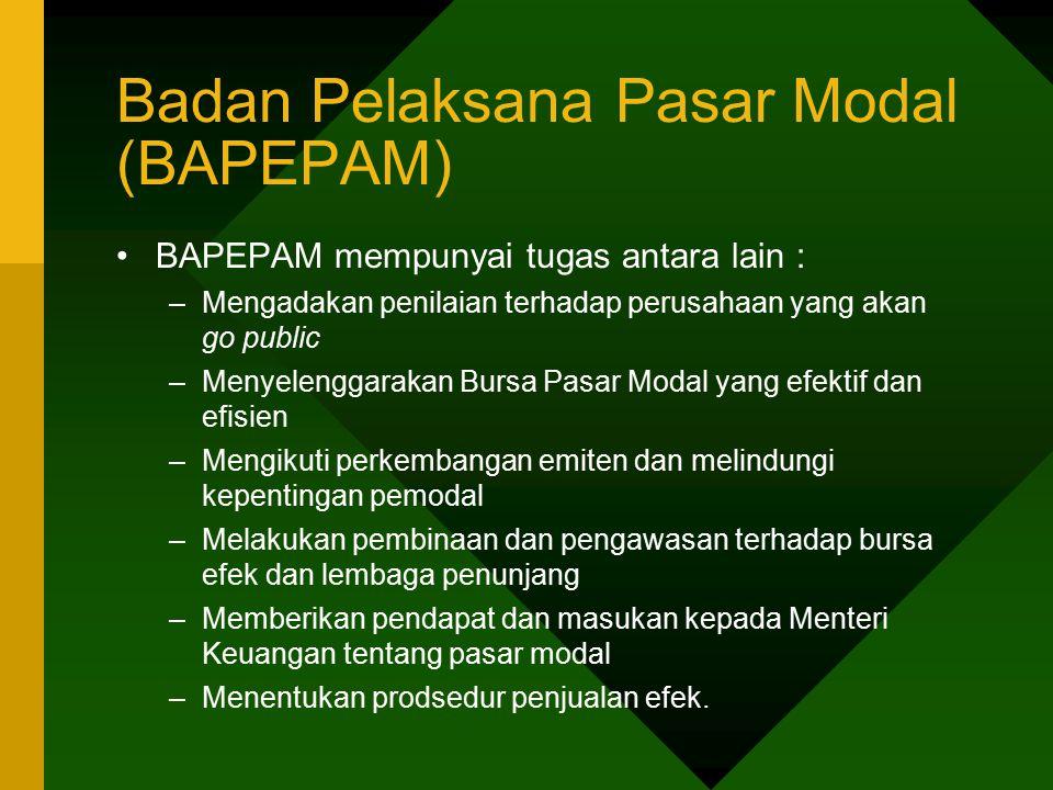 Badan Pelaksana Pasar Modal (BAPEPAM) BAPEPAM mempunyai tugas antara lain : –Mengadakan penilaian terhadap perusahaan yang akan go public –Menyelengga